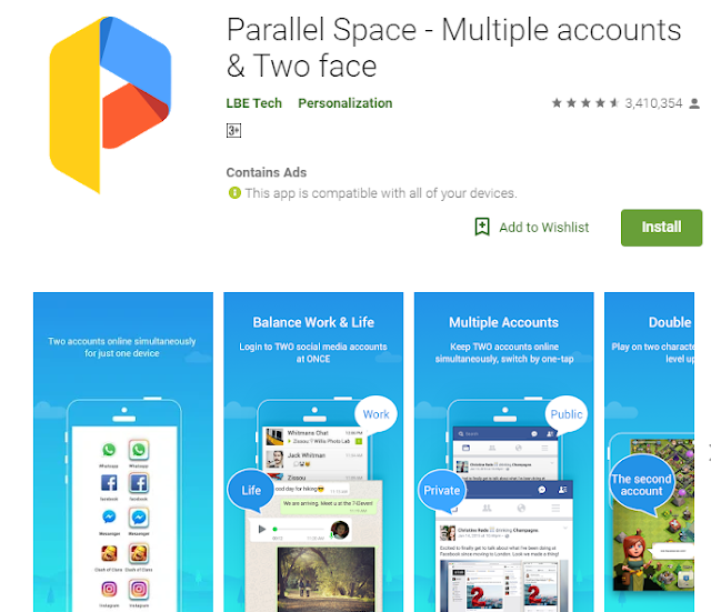 parallel space display