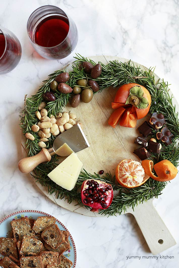 beautiful holiday wreath cheese platter