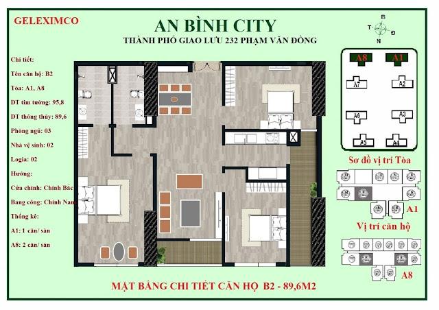 Mặt bằng căn B1 - B2 An Bình City