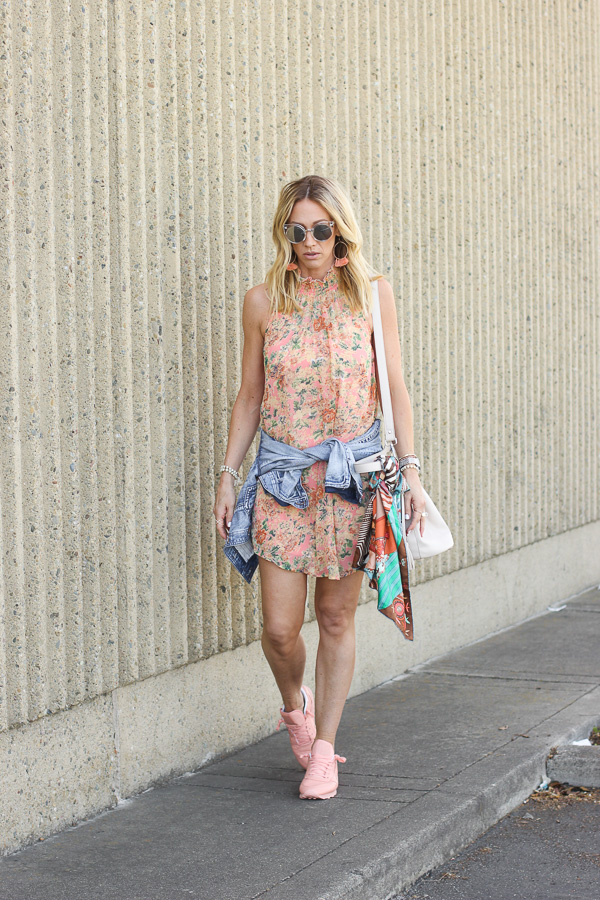 parlor girl floral dress paired with sneakers and denim jacket