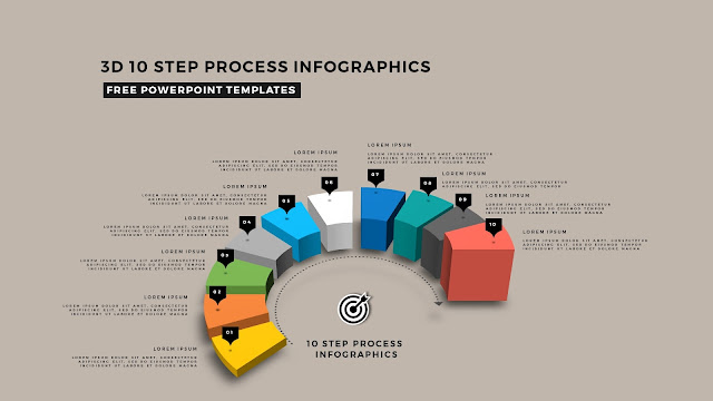 Multi Step 3D Circular Process Diagram Infographic Free PowerPoint Template Slide 16
