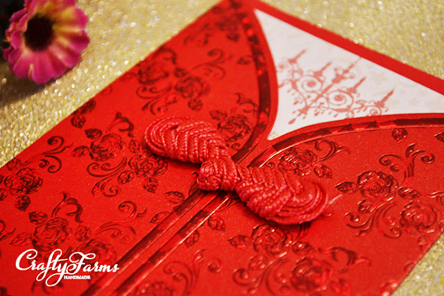 Oriental Themed Embossed Wedding Card with Chinese Knot Button