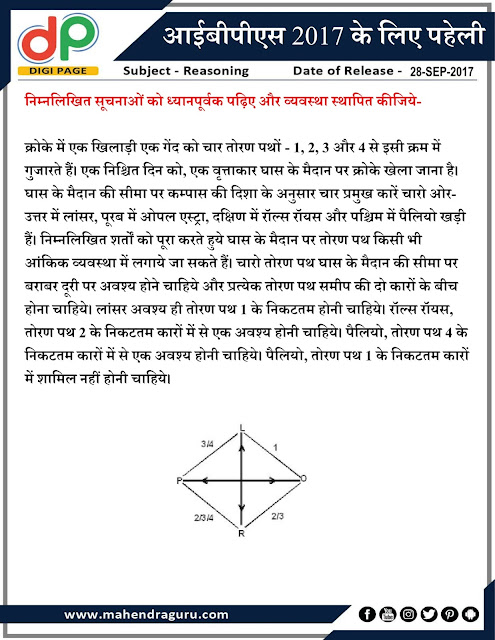 DP | Puzzle for IBPS PO | 28 - 09  - 17