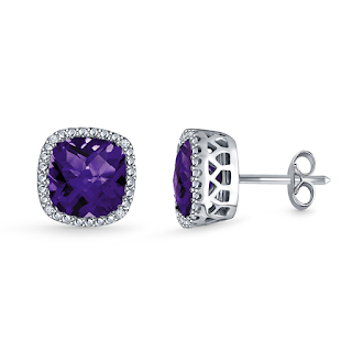 www.b2cjewels.com/gemstone-earrings/mecm0510/amethyst-cushion-cut-gemstone-diamond-stud-earrings-in-14k-white-gold-7mm