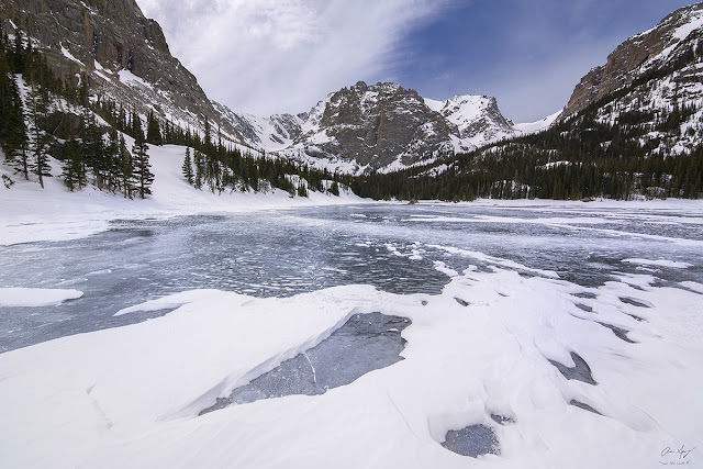 Rocky Mountain National Park Winter Loch Vale lake Glacier Gorge photography