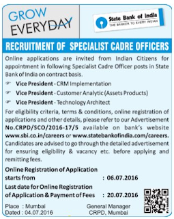 Online Applications are invited for Recruitment of Vice President Posts in State Bank of India (SBI)