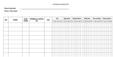Contoh Format Prota,Promes,Pemetaan SK/KD Kurikulum 2013 Revisi 2016