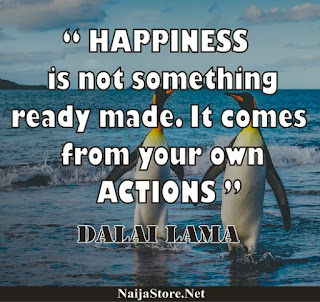 Dalai Lama - HAPPINESS is not something ready made. It comes from your own ACTIONS - Quotes
