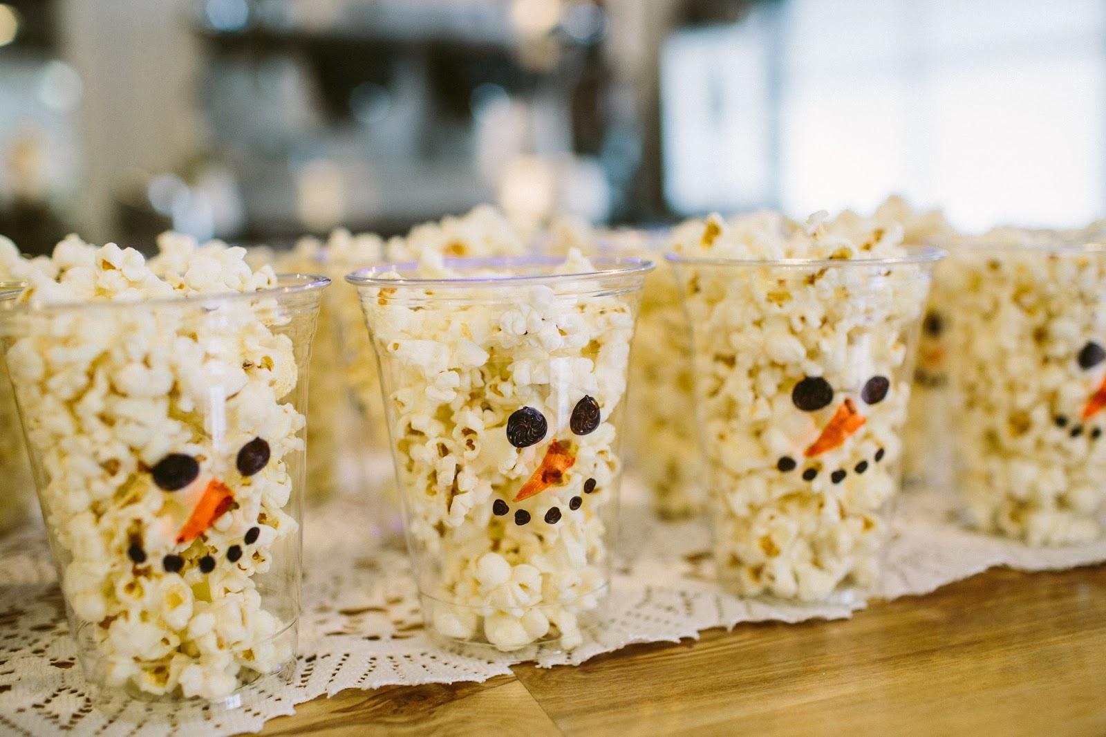 Snowman Cups, Snowman Popcorn Cups, Snowman Treats