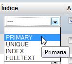 Columna Índice donde escogemos la opción Primary Key