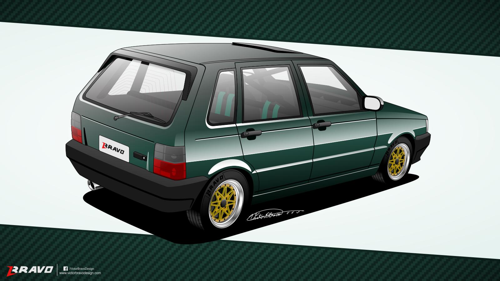 Imagem mostrando a frente do Fiat Uno 4p 1996 ''Juliano Henrique'' (Traseira)