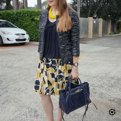 awayfromblue instagram boucle jacket black tank pleated printed yellow skirt and necklace, RM regan bag