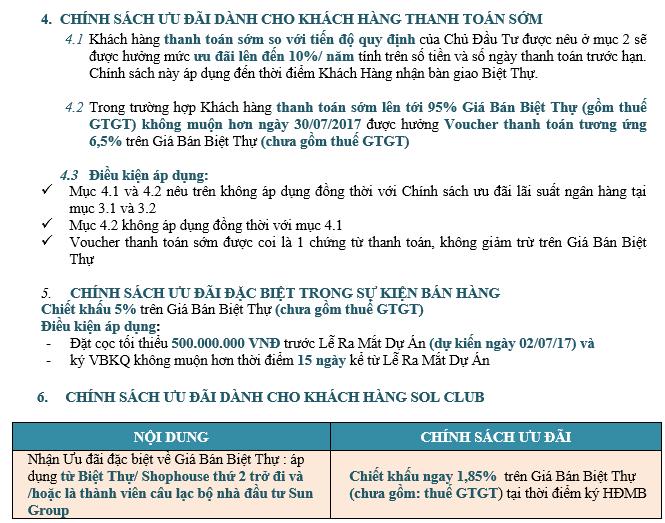 Chính sách bán hàng Premier Village Hạ Long