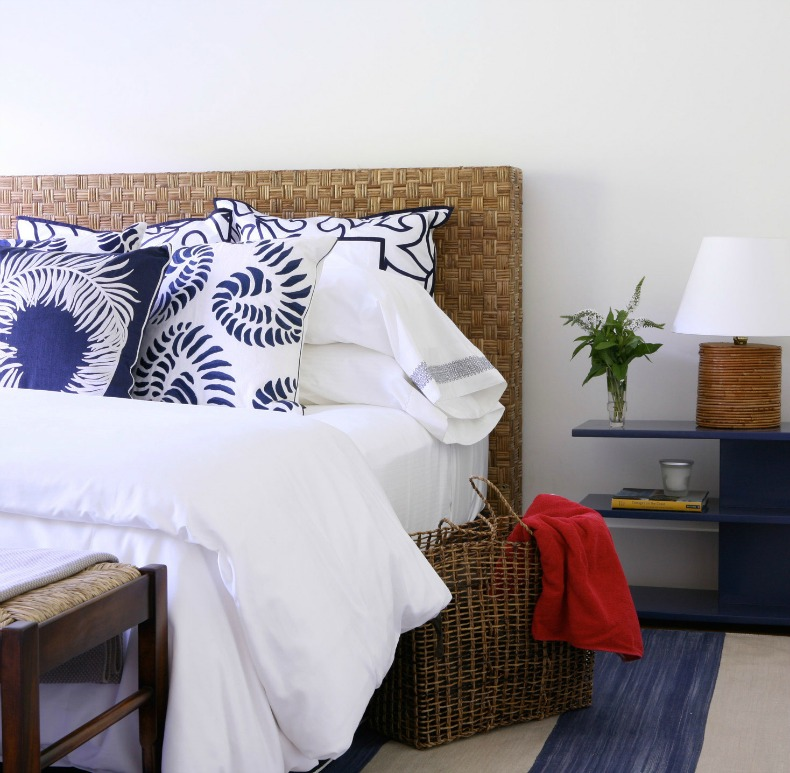 blue white and rattan coastal bedroom