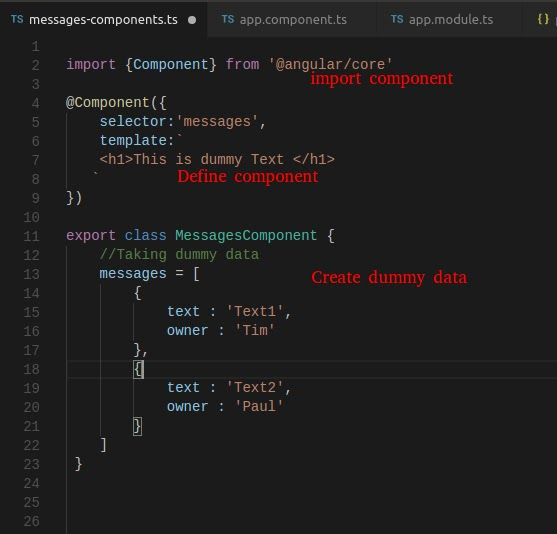 creating component in angular