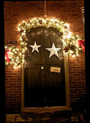 Elegant Christmas Front Door Decorations on The Dark Light With Small Lighting Lamp Good