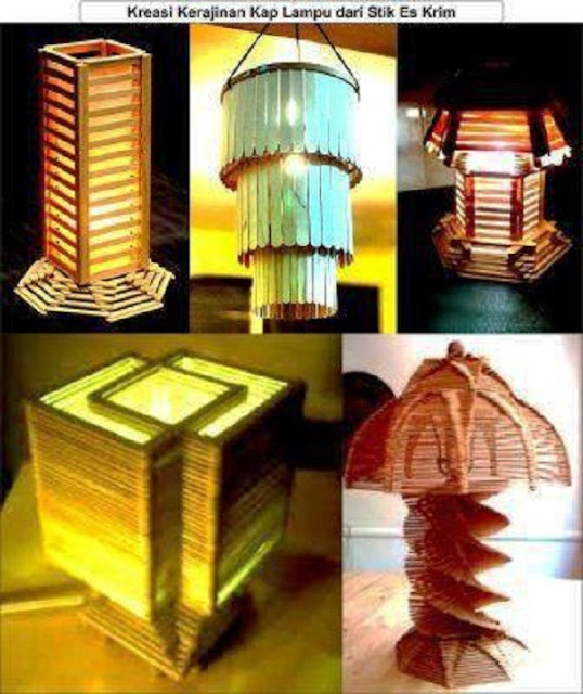 kreasi kerajinan kap lampu dari stik eskrim