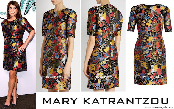 Princess Eugenie wore MARY KATRANTZOU Mayfield short-sleeved jacquard dress