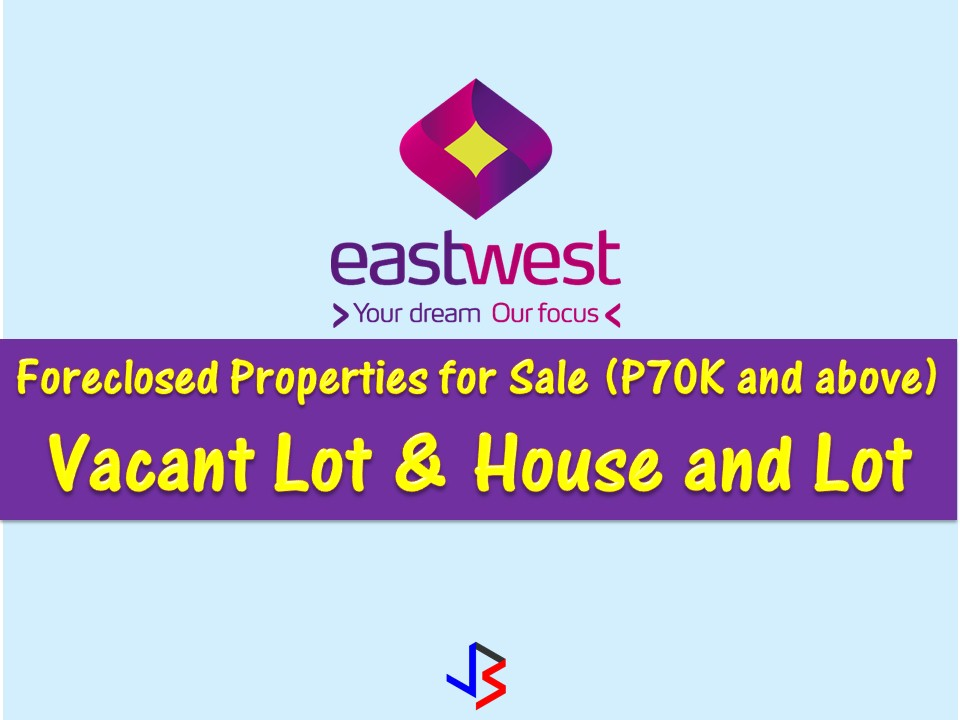 Are you looking for bankruptcy house or foreclosed house to buy or for investment? EastWest Bank has many acquired properties for sale in their foreclosure auction. In real estate foreclosure listings below from EastWest Bank, can find foreclosed homes or house and lot, vacant lot and any other properties. If you are lucky enough, you may acquire one of this properties at a cheap price compared to those in the market!  Read more: http://www.jbsolis.com/2018/03/east-west-bank-foreclosed-properties-this-march-2018.html#ixzz5AWd3WnLG