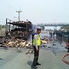 Mobil Truck Ludes  Terbakar, Akibat Adanya Letupan Api Dibelakang Jok