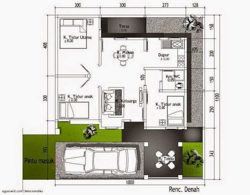 denah rumah ukuran 10x10 1 lantai yang minimalis