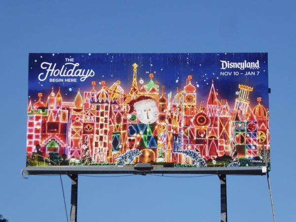 holidays begin here Disneyland lights billboard