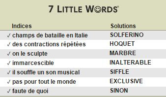 Janvier 24 2017 - 7 Petits Mots Daily Puzzles Solutions
