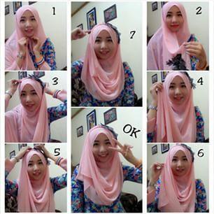 Tutorial Cara memakai jilbab segi empat modis