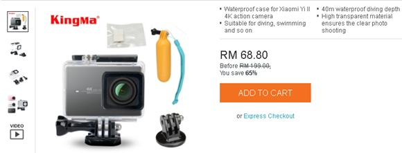 KingMa Xiaomi Yi 4K Action Camera Waterproof Case Murah Malaysia
