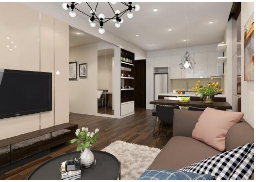 Không gian phòng khách căn hộ chung cư Mỹ Đình Pearl