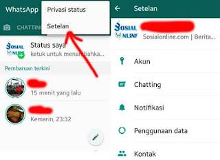 langkah pertama pilih setelan pada whatsapp