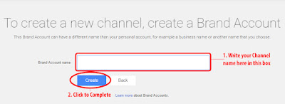 YouTube Create New Channel & Brand Account Page - Screenshot