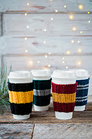 Free Knitting Pattern for Coffee Cozies in Hogwarts School Colors provided by PattyMacKnits.