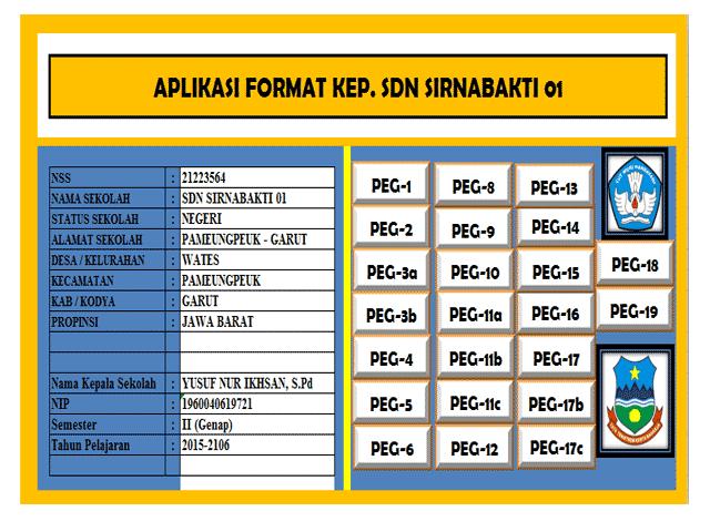 Aplikasi Format Excel Administrasi Kepegawaian Guru dan kepala Sekolah