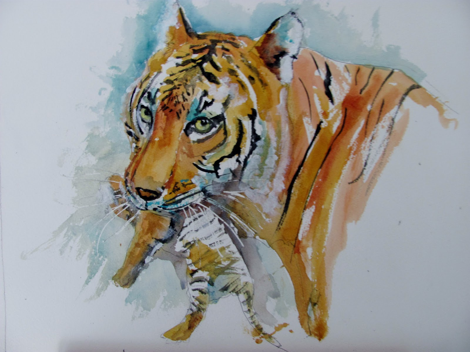 The Watercolour Log Tiger With Cub