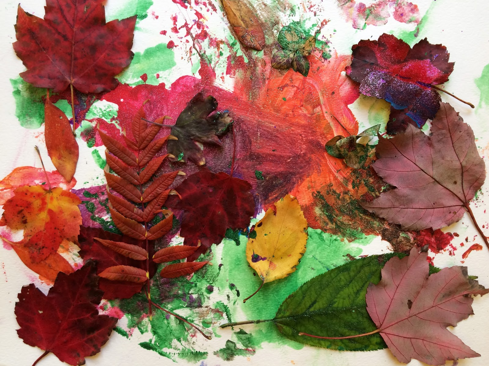 Image result for paint with leaves