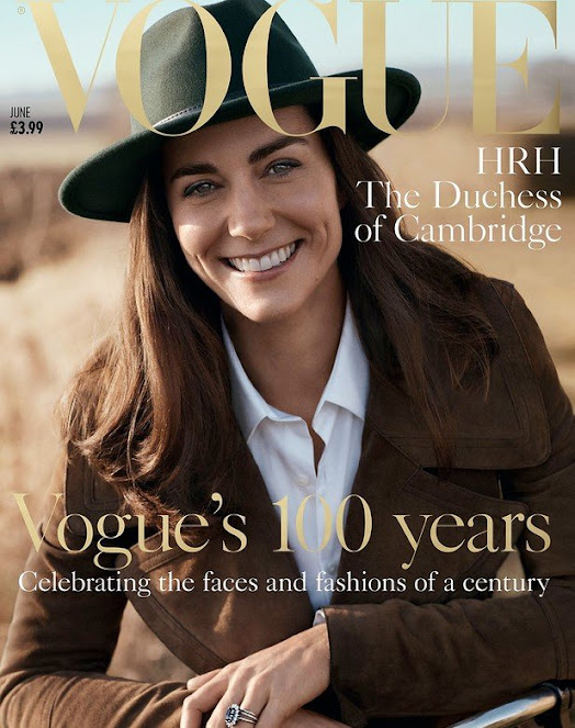 Kate Middleton on the cover of British magazine Vogue. Kate Middleton wore Petit Bateau Striped T-shirt and Burberry jacket and shirt