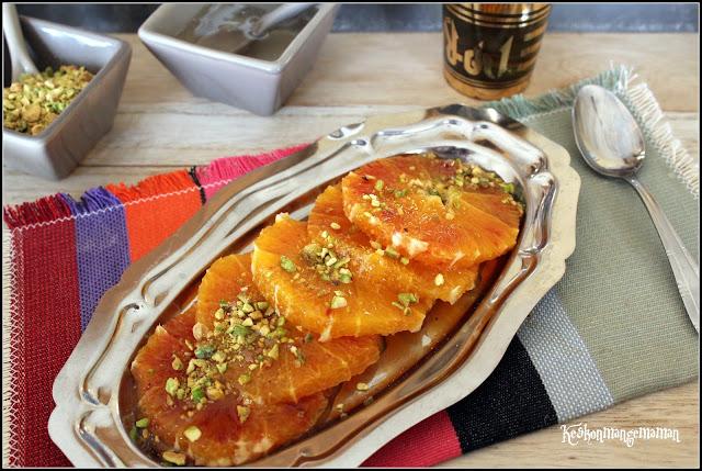 sirop libanais a la fleur d'oranger et salade d'oranges à la pistache
