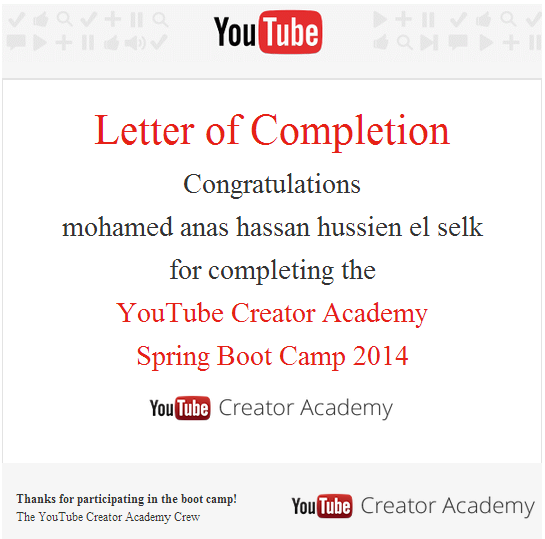 youtube creator academy cerificate in egypt
