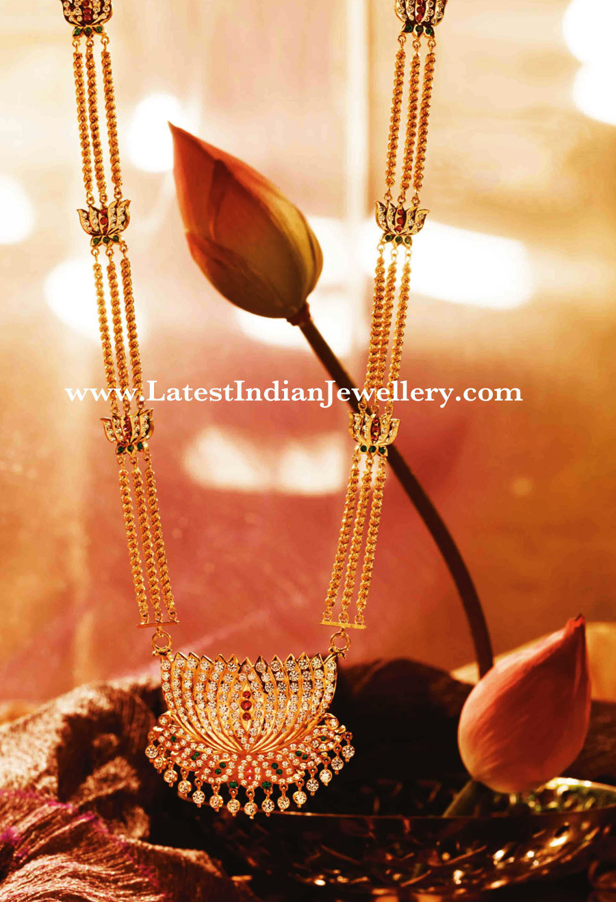 Traditional Long Lotus Necklace With Diamonds