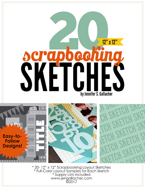 "20 Scrapbooking Sketches for 12"" x 12"" Layouts Ebook by Jen Gallacher. #ebook #scrapbooking #scrapbooksketch"