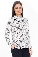 Camasa alb cu negru in carouri BR661 (Ama Fashion)