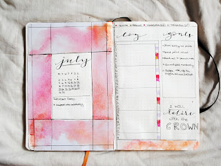 PLAN WITH ME July 2018! Bullet Journal Watercolour Set-Up
