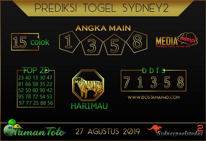 Prediksi Togel SYDNEY 2 TAMAN TOTO 27 AGUSTUS 2019