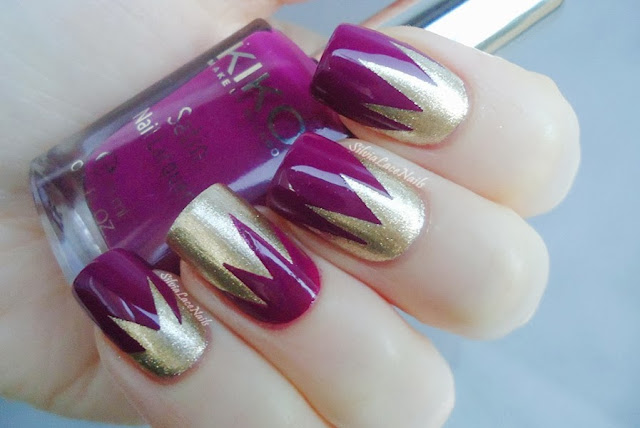 Purple and gold tape mani