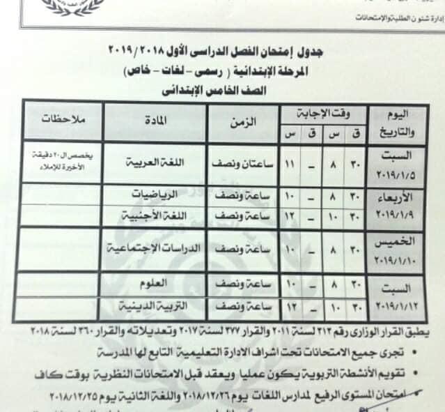 محافظة بورسعيد : جداول سير الإمتحانات الفصل الدراسي الأول 2019/2018 المرحلة الإبتدائية
