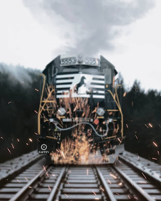 Train fire background picsart