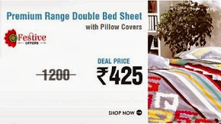 Premium Range Double Bedsheet with Pillow cover worth Rs.1200 for Rs.425 Only at Snapdeal