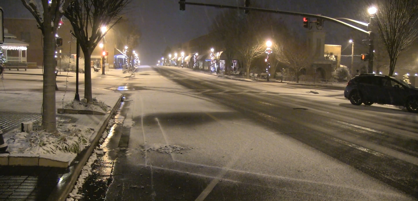Main Street at the beginning of a winter weather event