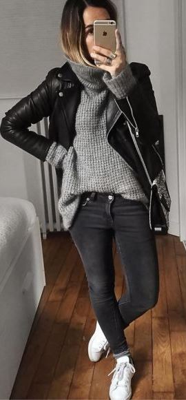 fall street style addiction: black biker jacket + sweater + skinny jeans + sneakers